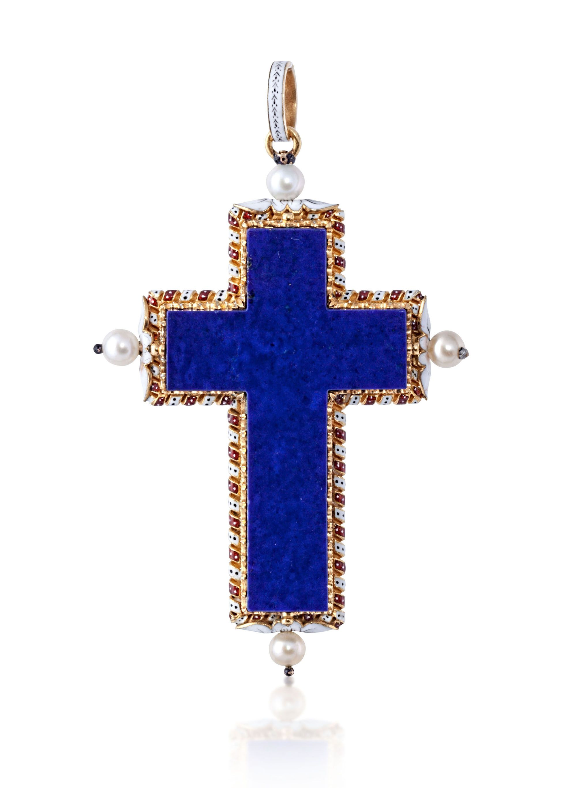 LAPIS AND ENAMEL CROSS SET IN YELLOW GOLD I William Noble | Estate Jewelry