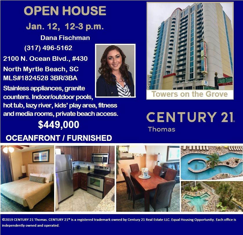Open House Jan 12 12 3 P M Dana Fischman 317 496 5162 2100 N Ocean Blvd 430 North Myrtle Beach Sc Open House North Myrtle Beach Indoor Outdoor Pool