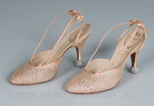 Evening Shoes worn by Marlene Dietrich, 1950s Silk satin, glass rhinestones, marcasite, metallic cord & leather