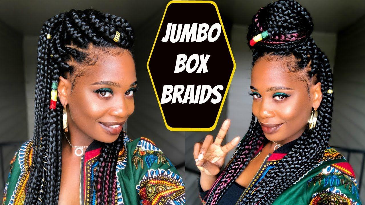 Jumbo Box Braids Tutorial Misskenk Youtube Jumbo Box
