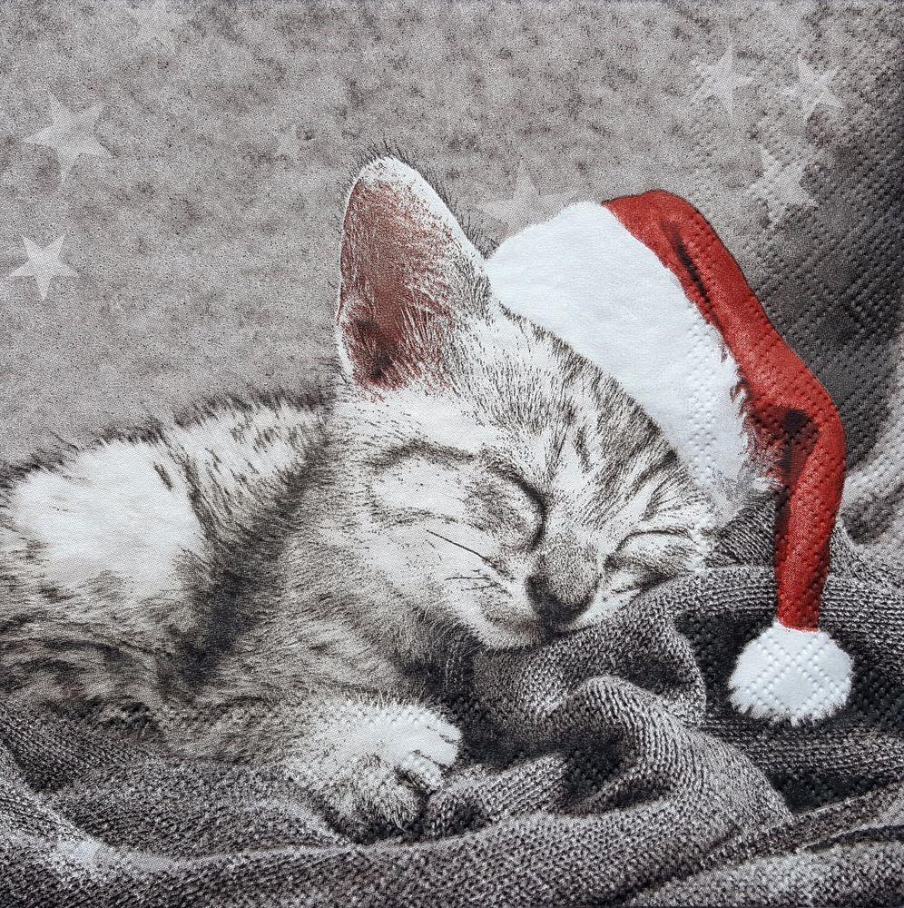 4 Single Paper Napkins for Decoupage Santa Cat Christmas