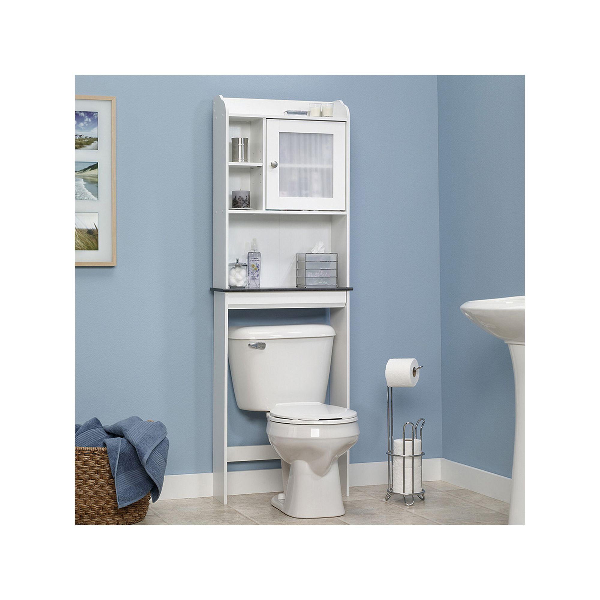 Sauder Caraway Bathroom Floor Cabinet White In 2020 Bathroom Floor Cabinets Over The Toilet Cabinet Bathroom Space Saver