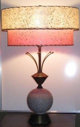 Atomic Age Lamps Vtg Mid Century Modern E Table Lamp Pink Stars