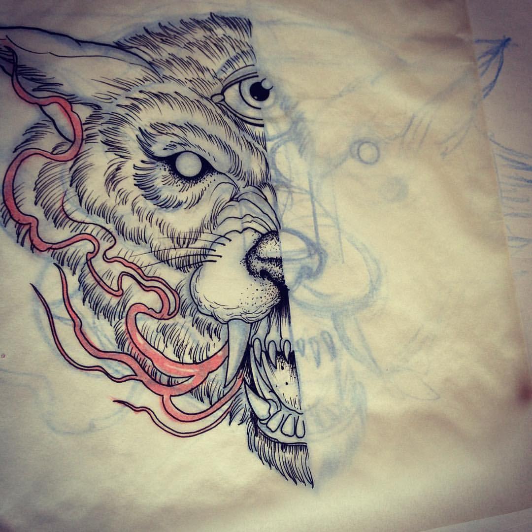White wolf tattoo chest