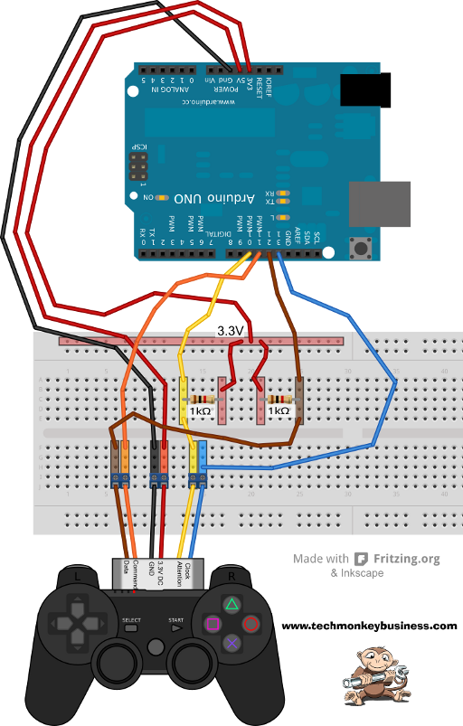 Connecting the PS2 Controller to the Arduino   Arduino RS in 2019   Arduino, Electronics