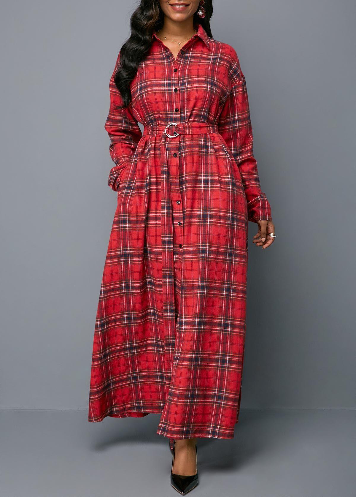 ce7225e57d455 Turndown Collar Button Front Belted Dress | Rotita.com - USD $29.94 ...