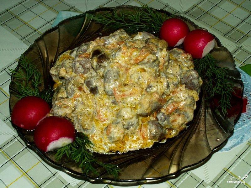 жареные сердечки куриные с луком рецепт с фото