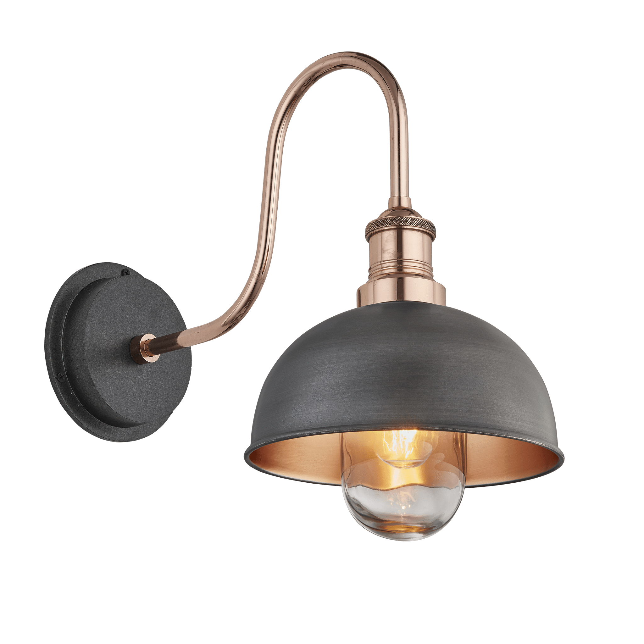 Swan Neck Outdoor Bathroom Dome Wall Light 8 Inch Pewter Copper In 2020 Wall Lights Outdoor Bathrooms Copper Wall Light