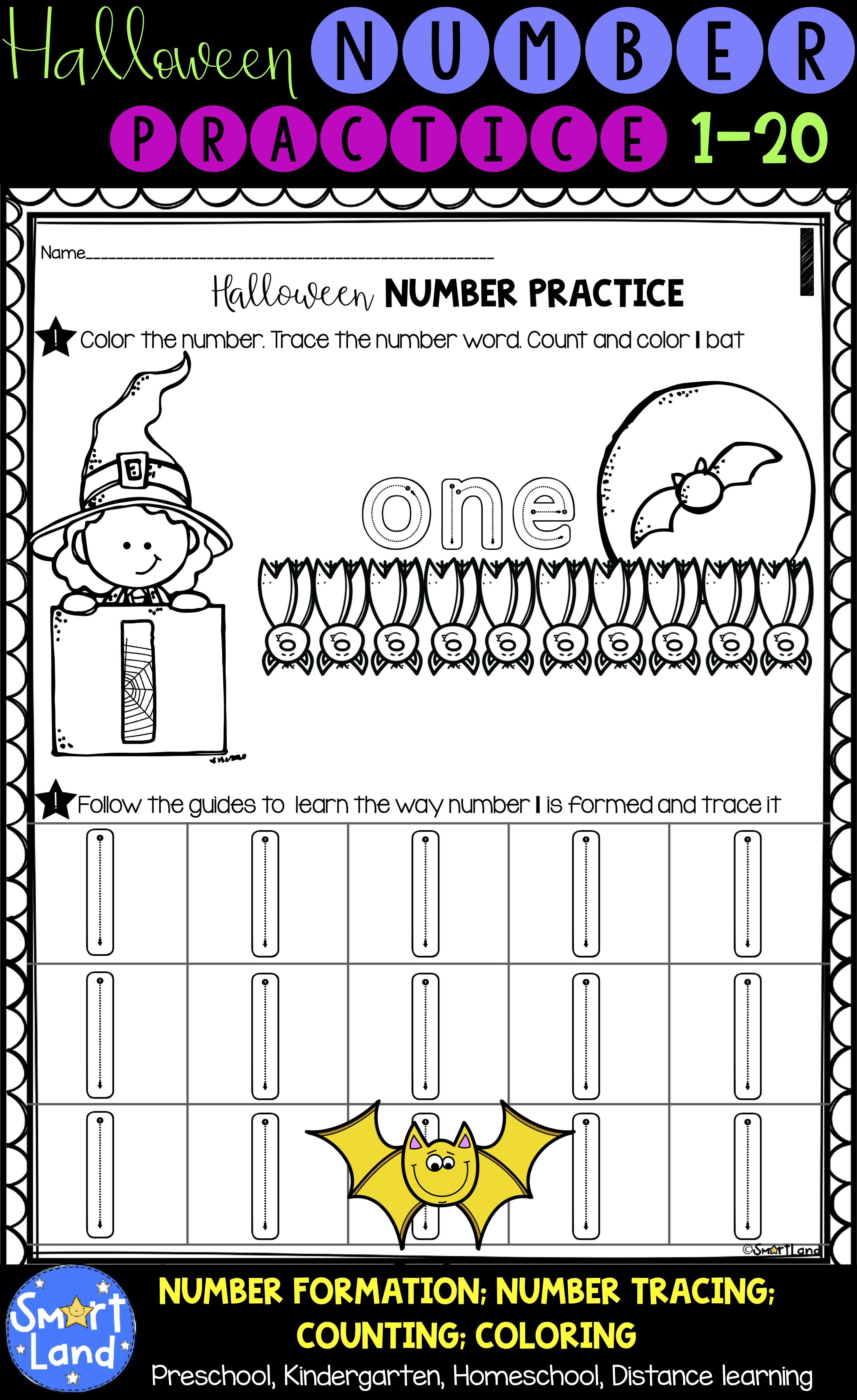 Halloween Numbers 1 20 Handwriting And Counting Worksheets Fall Preschool Activities Free Math Lessons Distance Learning [ 5000 x 3062 Pixel ]