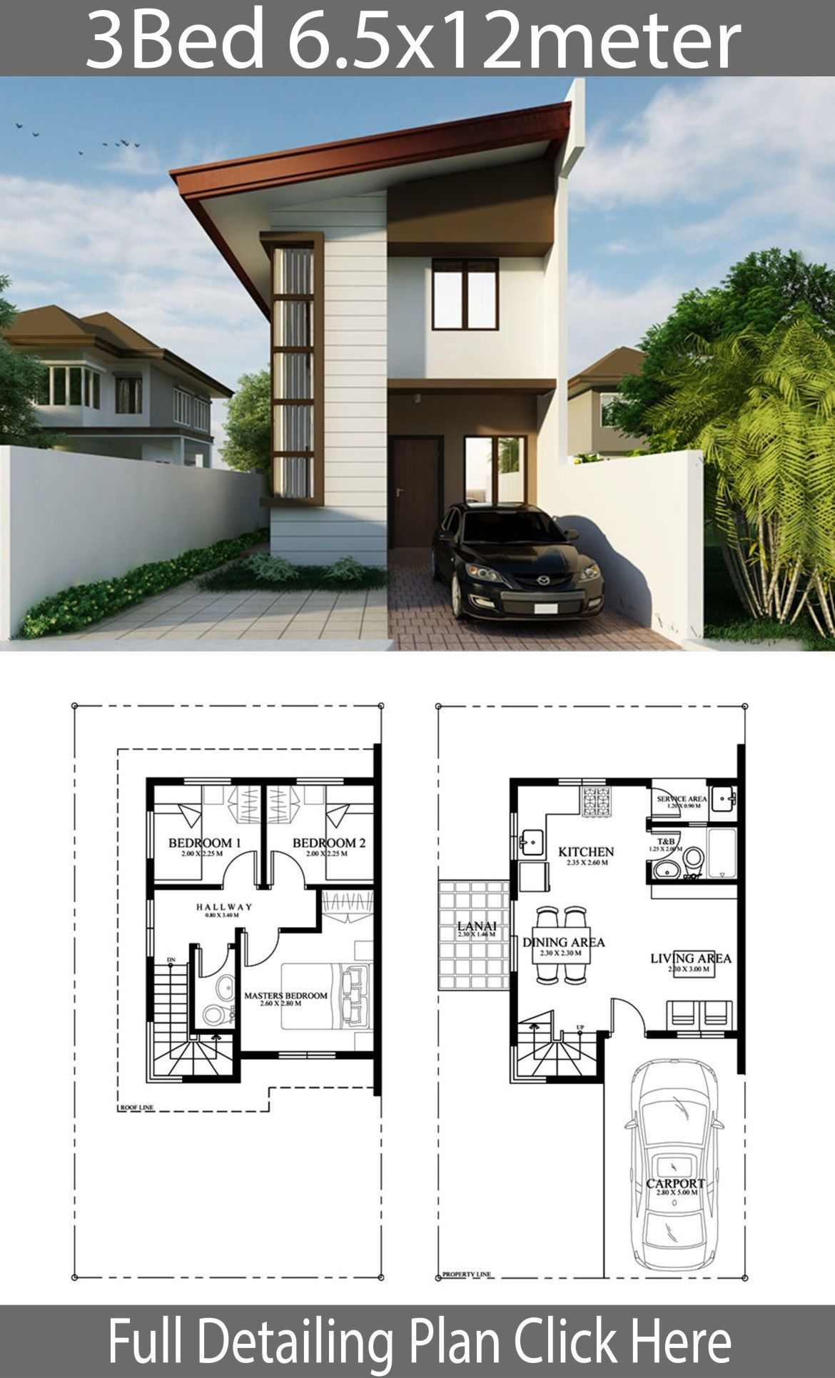 Small Home Design Plan 6 5mx12m With 3 Bedrooms Home Planssearch Model House Plan Small House Design Plans Architectural House Plans