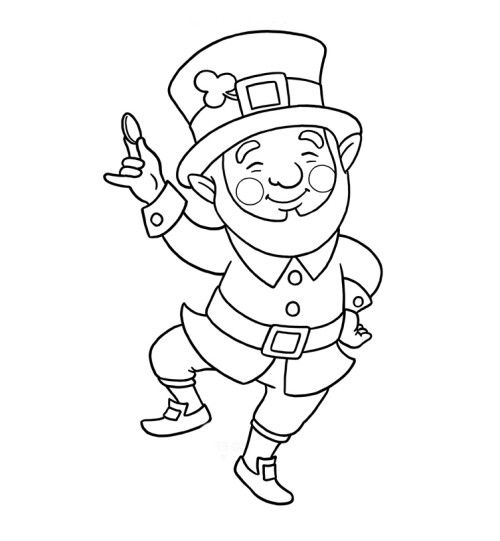 Leprechaun Coloring Page For Kids Kids Coloring Pages Pinterest