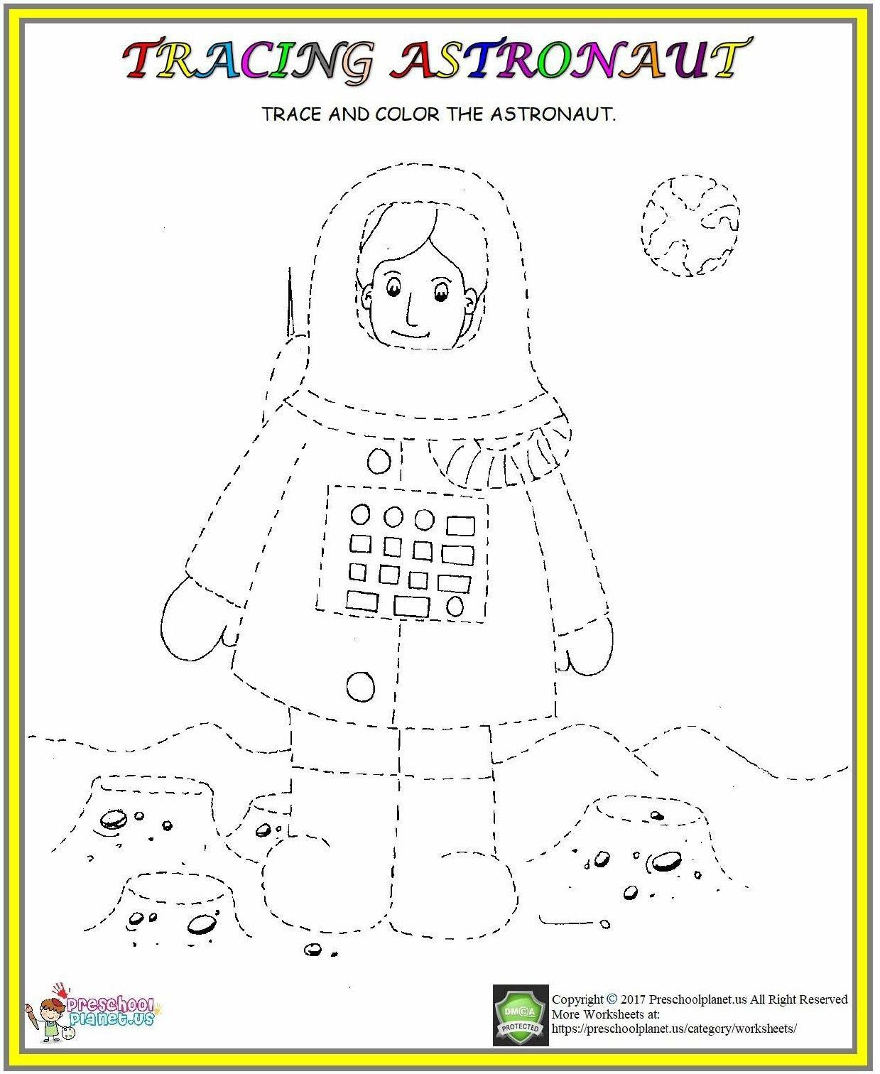 Astronaut Tracing Worksheet Kindergarten Worksheets
