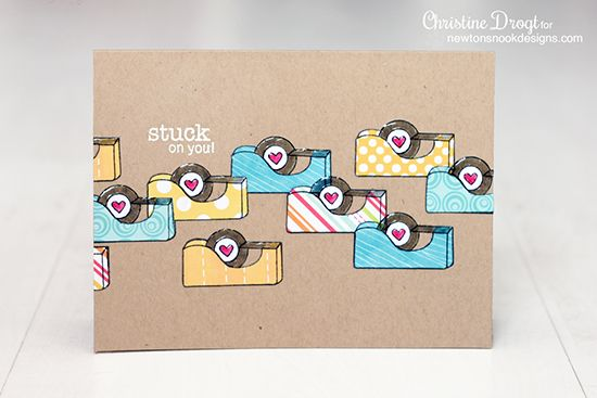 Stuck on you card by Christine Drogt   Around the House Stamp Set   Newton's Nook Designs