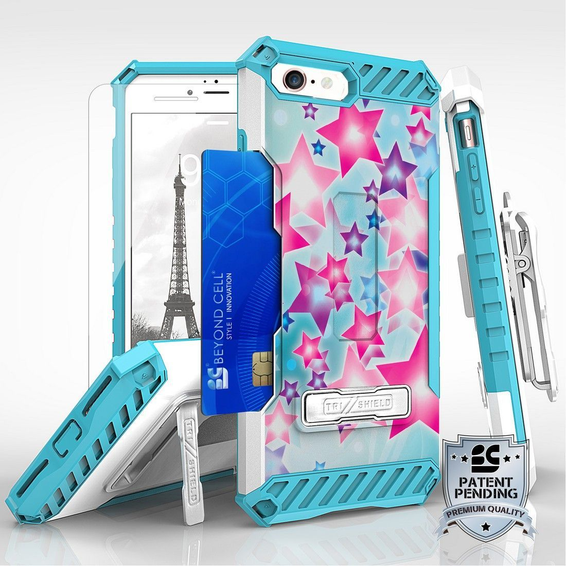 Tri Shield For Apple iPhone 7 Pink Stars on Blue, Belt Clip Holster, Tempered Glass