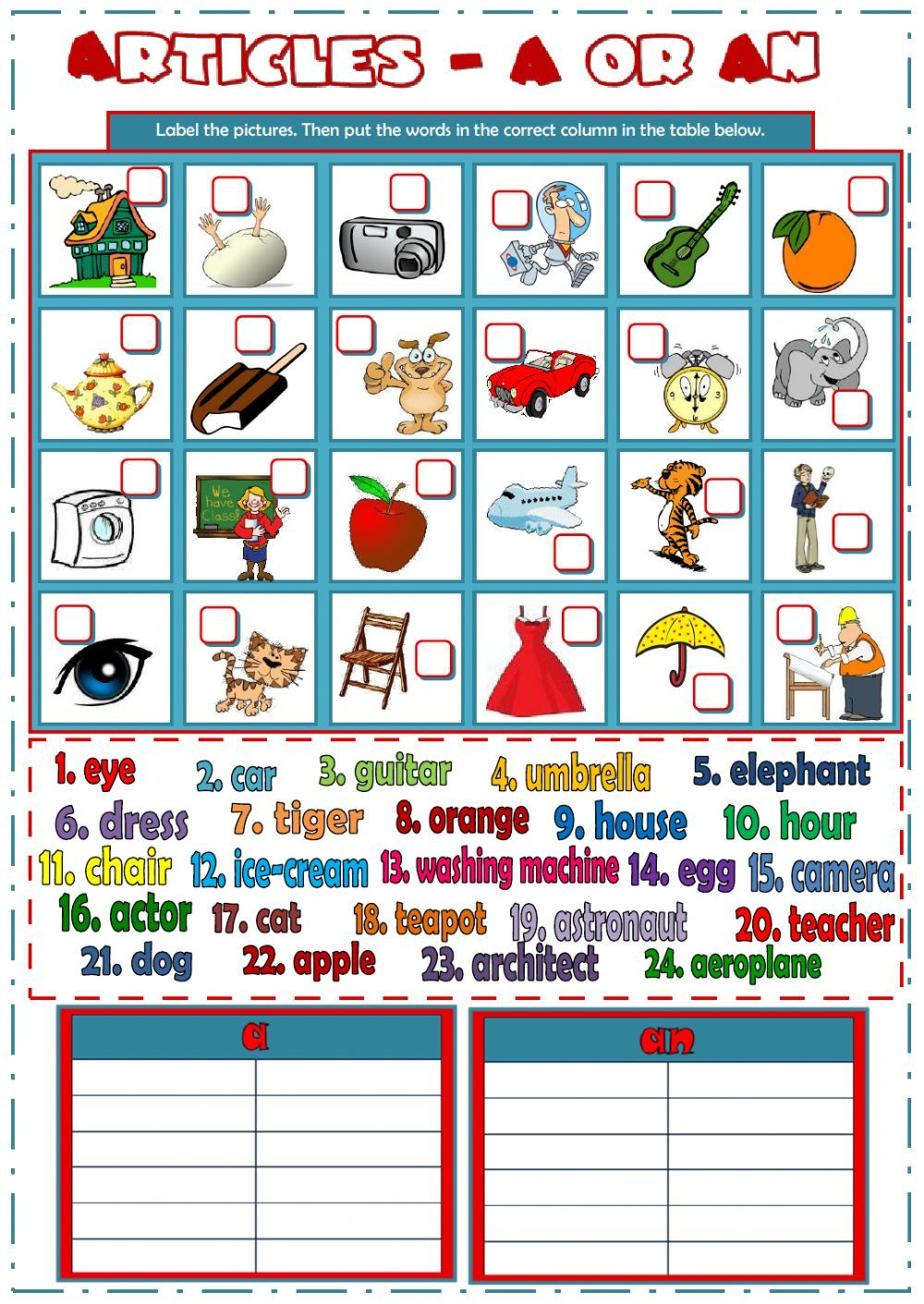 The indefinite articles interactive and downloadable worksheet. You ...