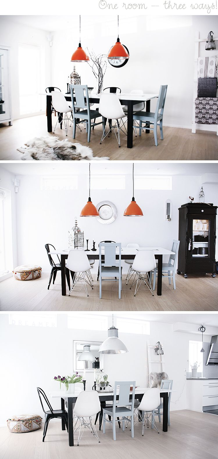 Swedish Home of Anna Malin | Interiors, Mismatched chairs and Dining