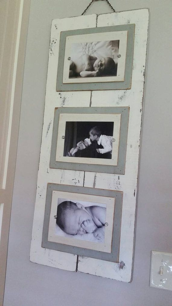 Wood Plank Triple Handmade Picture Frame Aged White by Accent2 ...