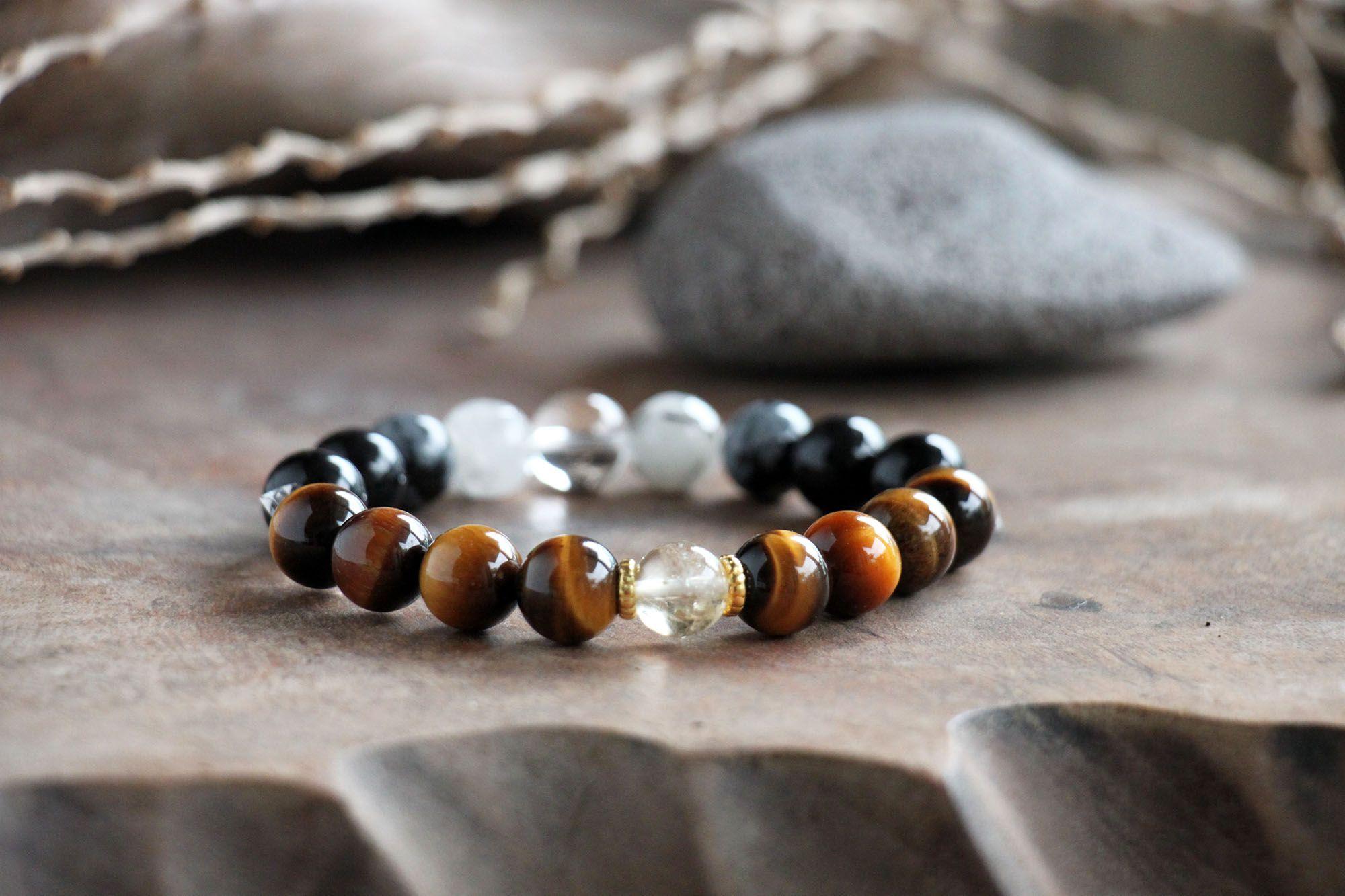 #白水晶 #赫基蒙水晶 #黑髮晶 #虎眼石 #彩曜石 #雪花黑曜 #黃水晶   Mens bracelet, Jewelry, Bracelets
