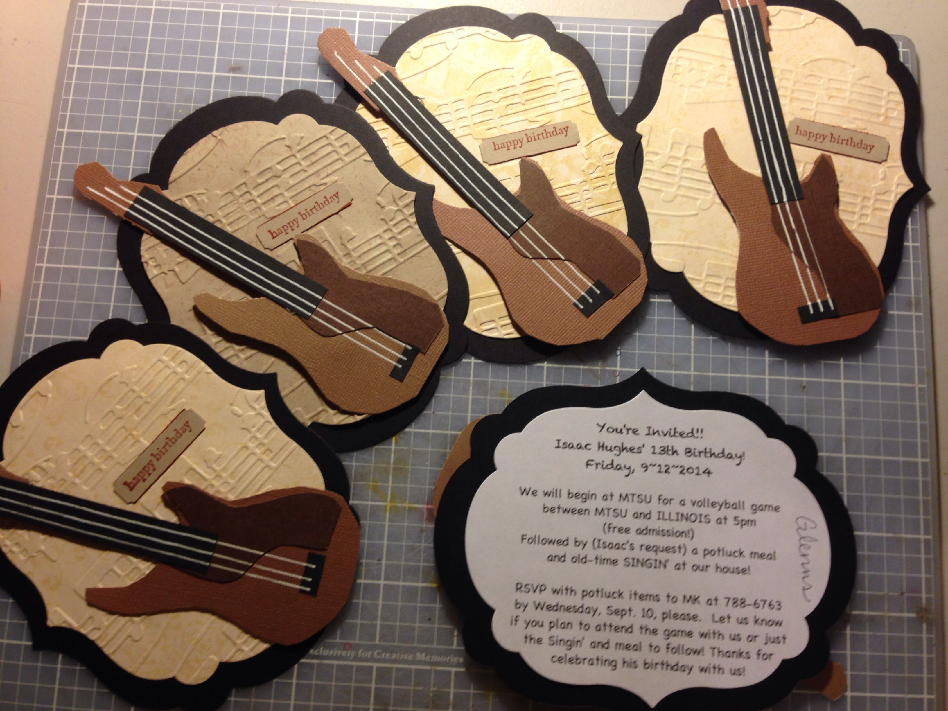 I made these birthday invites for my sons birthday this year. He's become quite an awesome bass player.