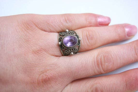 Vintage USSR Soviet era silver plated ring with amethyst