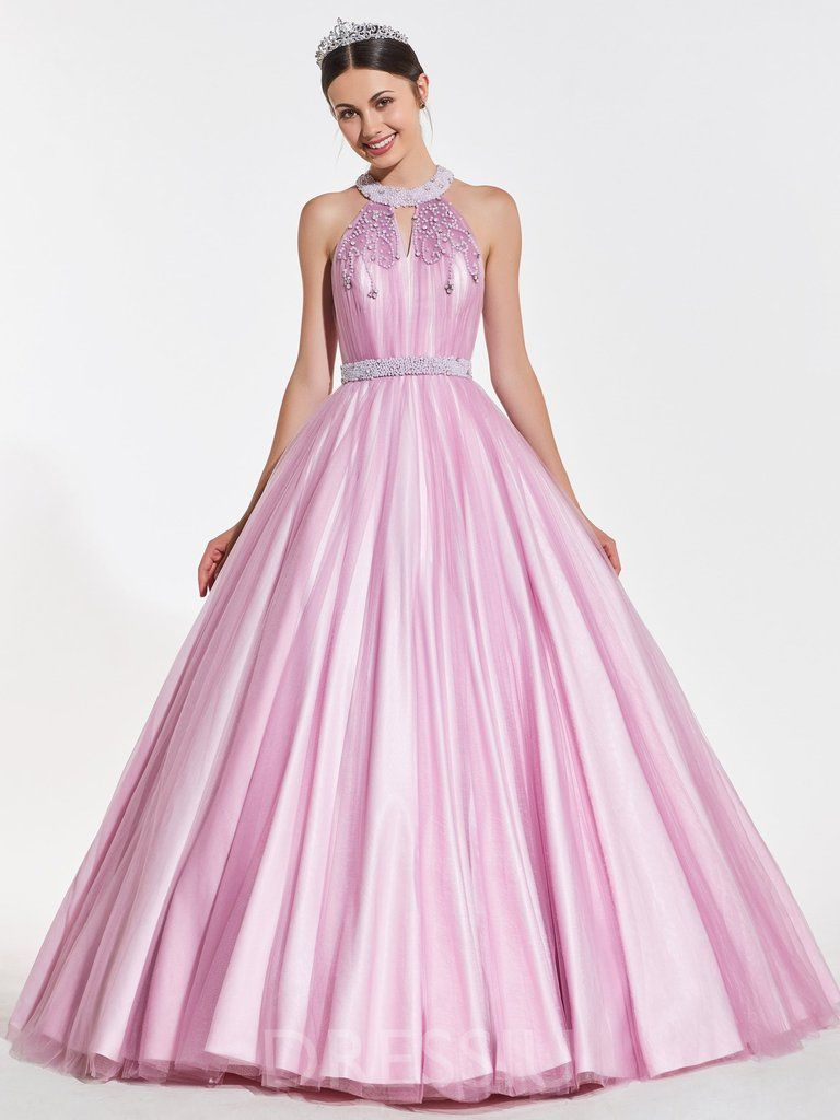 f6737887a1 Beading Floor-Length Ball Gown Sleeveless Quinceanera Dress in 2019 ...