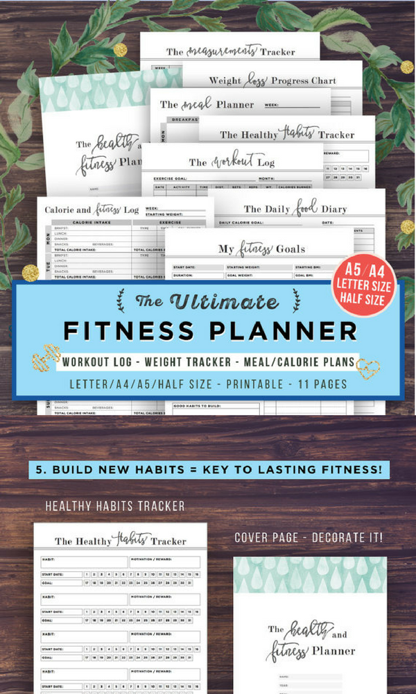 fitness planner printable health planner fitness journal workout