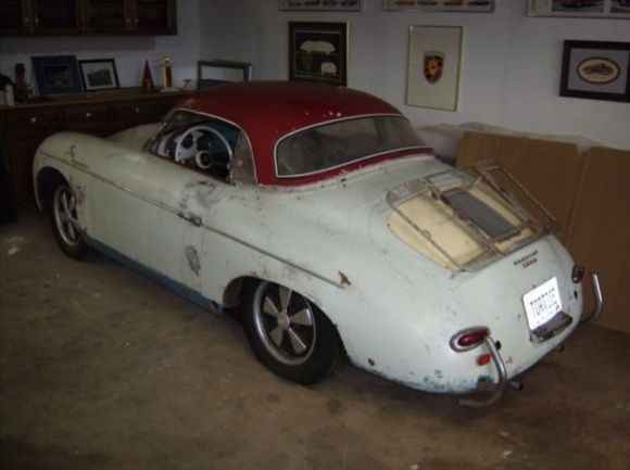 1957 Porsche 356A Speedster Project Car Driver Hardtop For Sale Rear