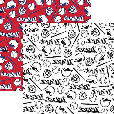 Reminisce Baseball Icons 12x12 Dbl Sided 2pc Scrapbooking Paper