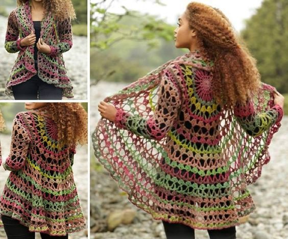 faire un gilet circulaire en laine ou une veste mandala au