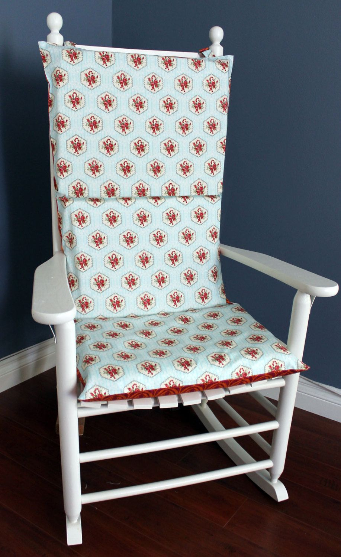 On sale rocking chair cushion blue orange floral 29