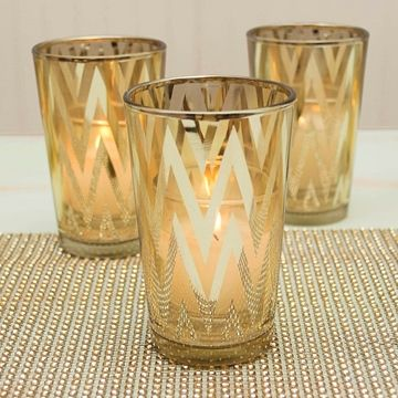 Gold Chevron Striped Votive Candle Holder Rentals 36 Of Each Type Available 72 Www Then Glass Votive Candle Holders Candle Holders Votive Candle Holders