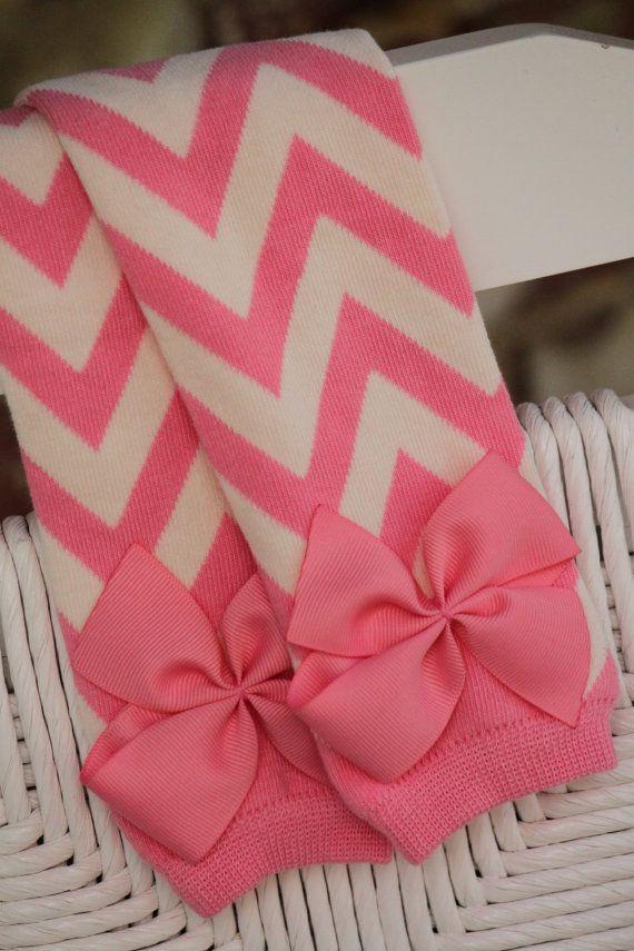 Pink chevron legwarmers and bow set; legwarmer and bow set; legwarmers with bows; chevron legwarmers