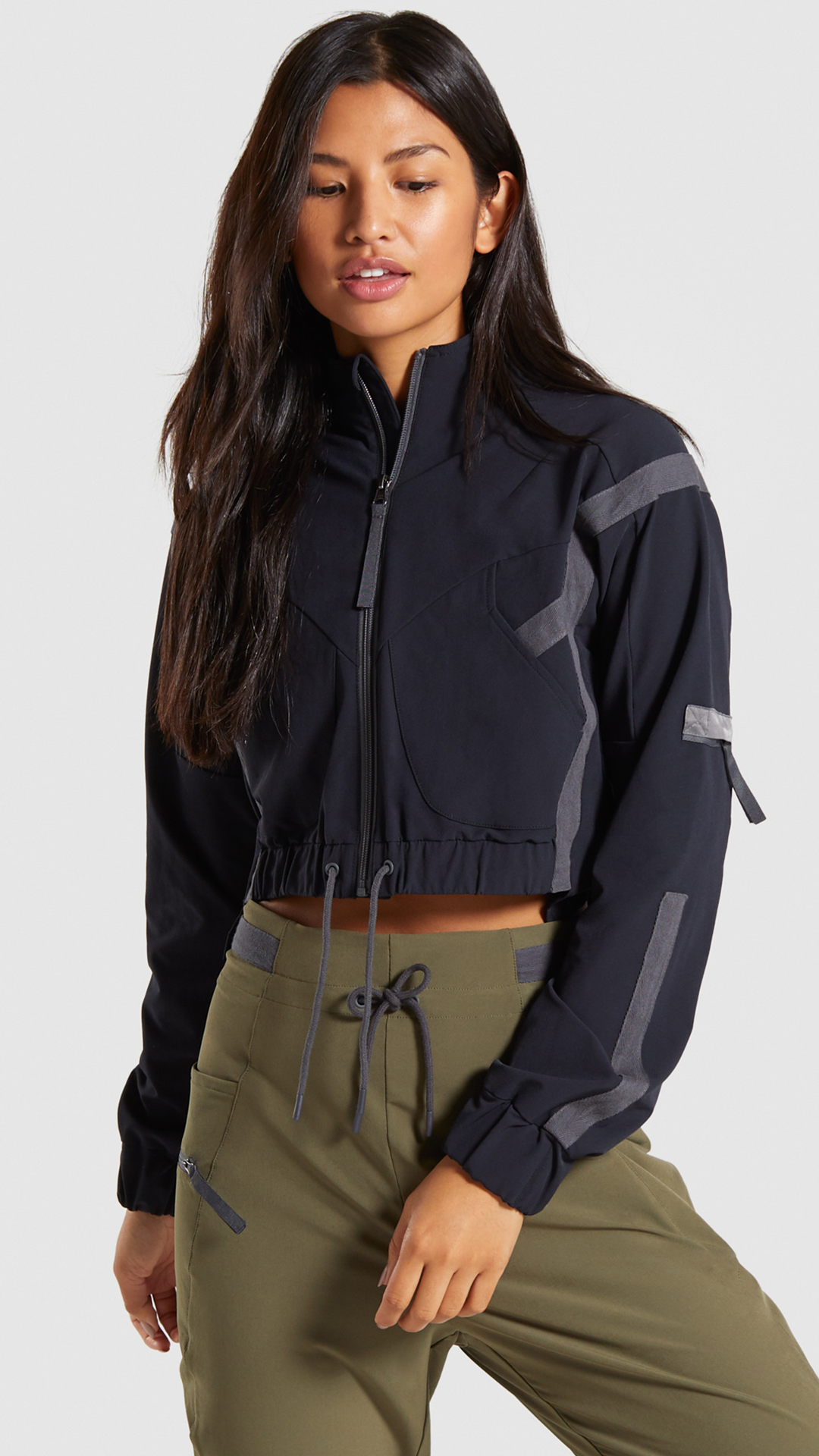 Gymshark Box Utility Track Top Black | Womens workout