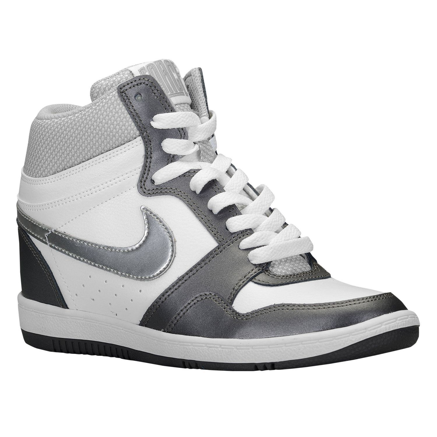 Nike Force Sky High - Women's - Basketball - Shoes - White/Metallic Dark  Grey