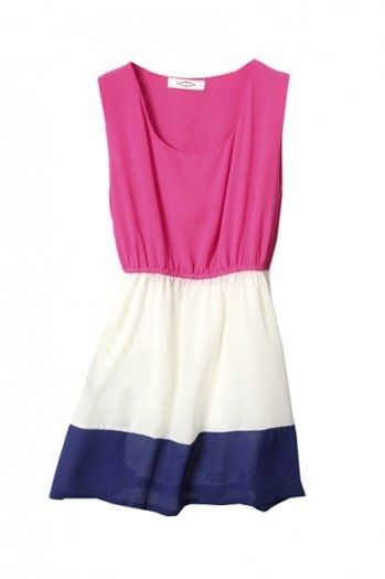 Mixed Colour Montage Sleeveless White-pink Dress(Coming Soon) [NCSKJ0185] - $30.99 : - StyleSays