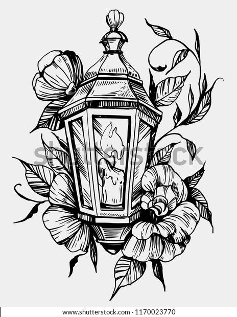 Lantern Flowers Tattoo Sketch Hand Drawn Stock Vector (Royalty Free) 1170023770