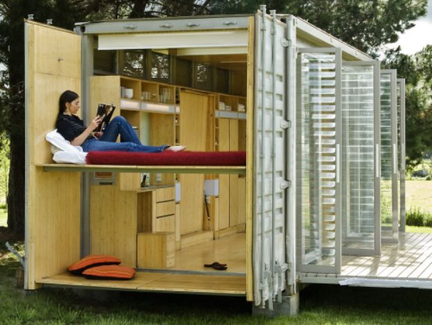 Living In A Shipping Container shipping container home unfolds to create extra living space