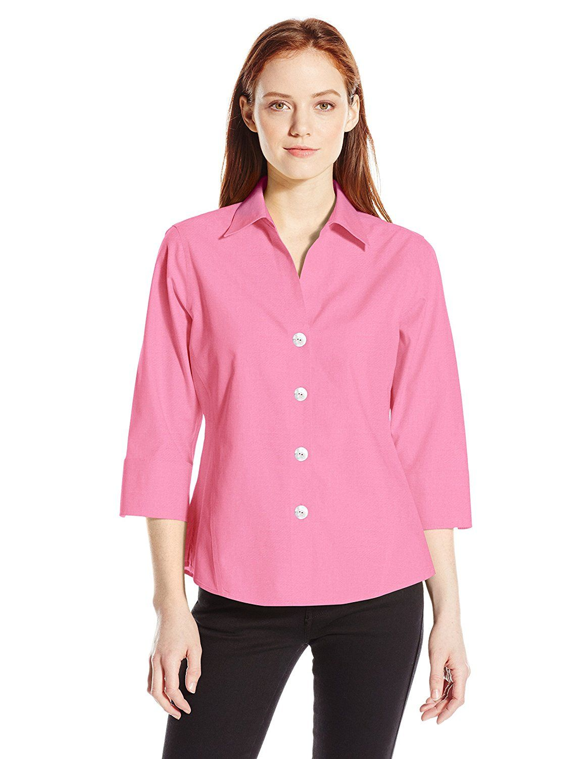 5990ca6c750e37 Foxcroft Women's Petite 3/4 Sleeve Paige Essential Non Iron Shirt * This is  an Amazon Affiliate link. Be sure to check out this awesome product.