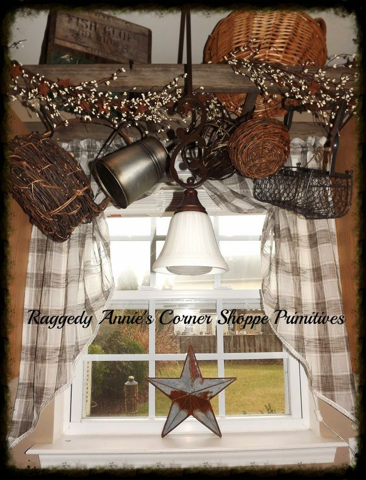 primitive pipberries decorations | Ladder hung above sink wrapped ...