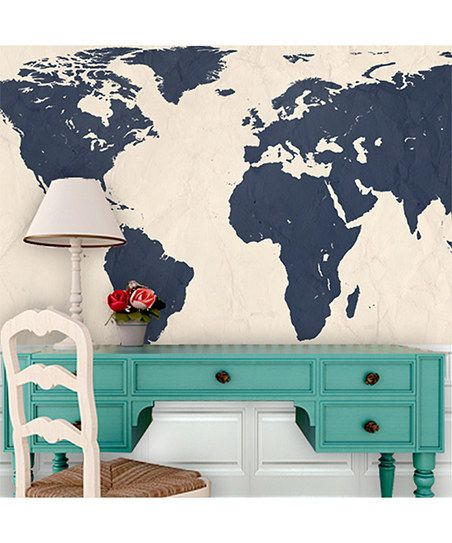 Navy world map wallpaper zulily beach and coastal decor navy world map wallpaper zulily gumiabroncs Gallery
