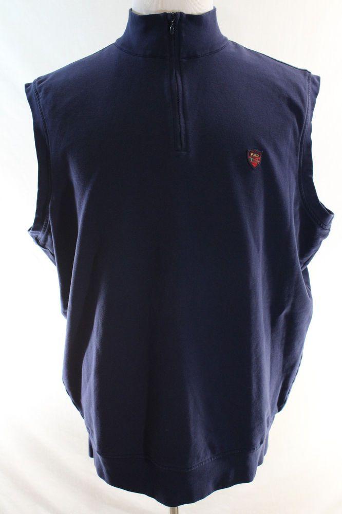 RALPH LAUREN POLO Golf Sweater Vest XL Blue Half Zip Crest Lined Warm Sleeveless…