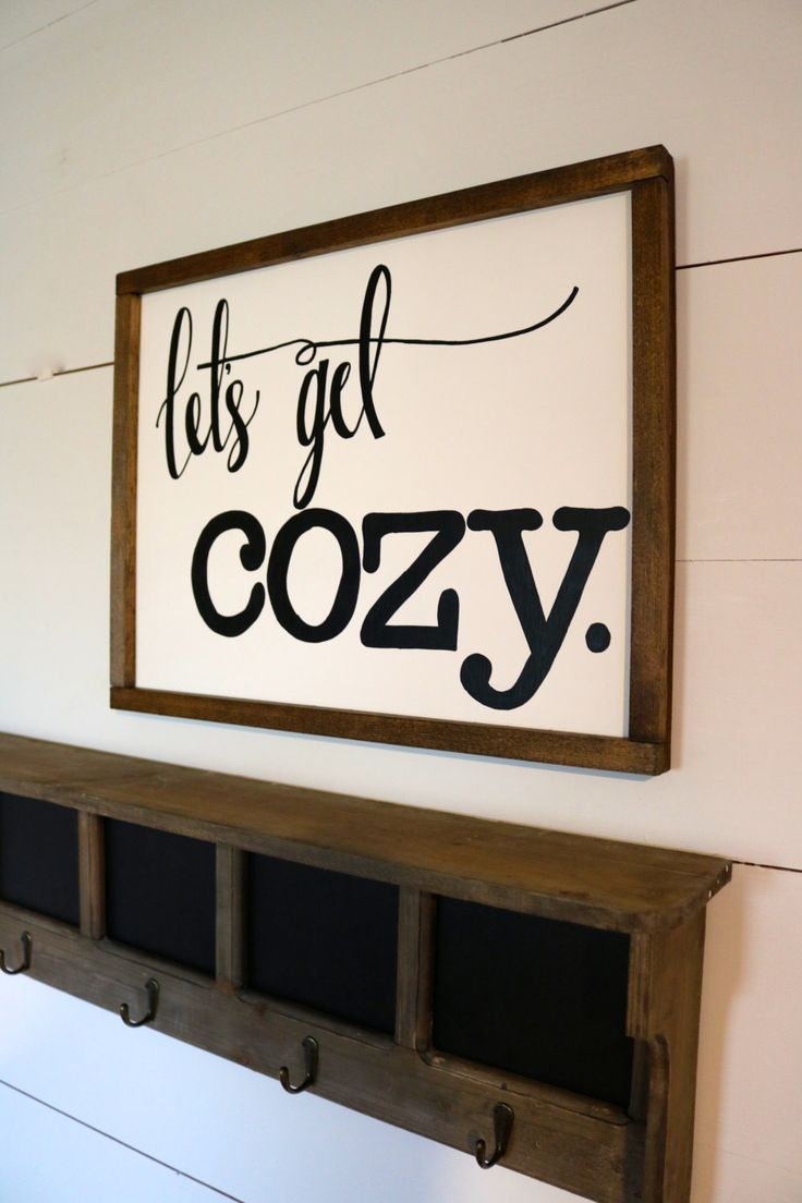 Letu0027s Get Cozy Sign, Living Room Wall Decor, Living Room Wall Decor, Wood
