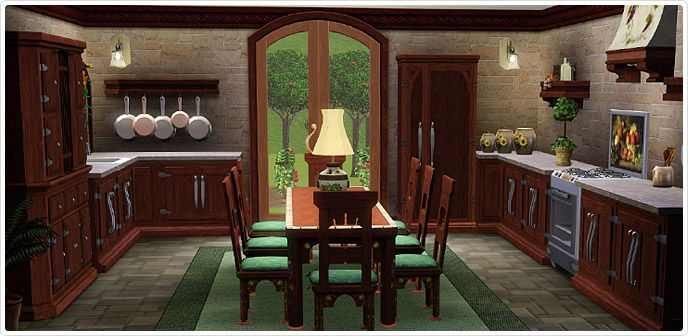 Mediterranean villa kitchen dining store the sims 3 for Sims 3 dining room ideas