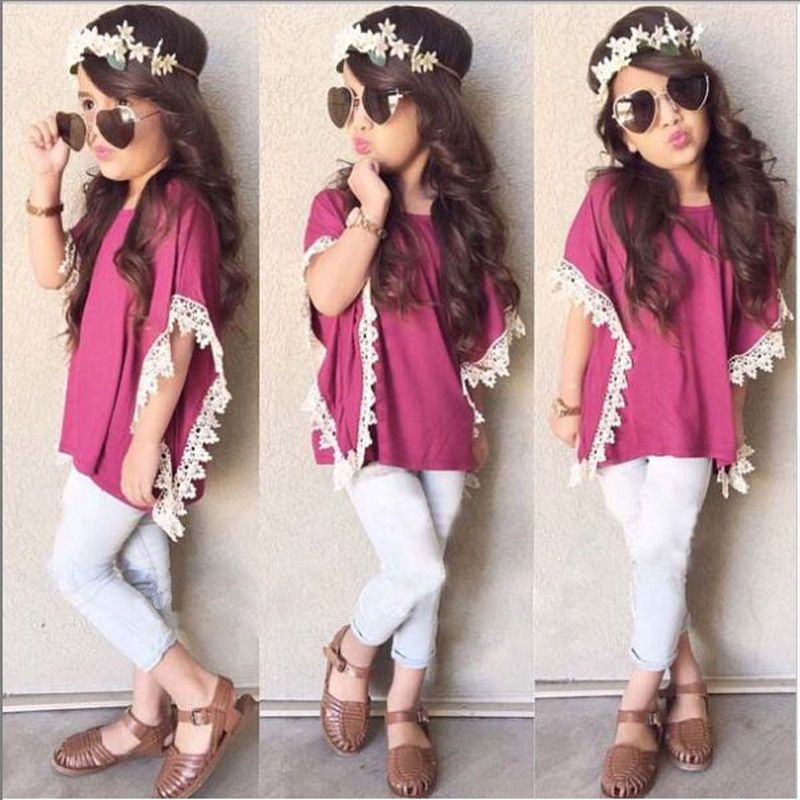 2pcs Kids Baby Girls Dress Rose Coat Denim Pants Set Children Clothes Outfits
