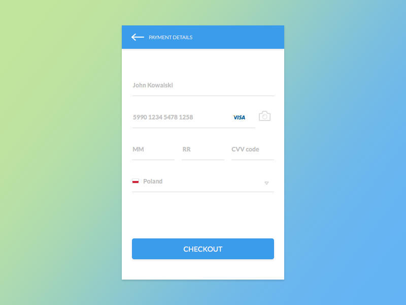 Days Sketch Ui Contest Day  Credit Card Checkout By Pawe