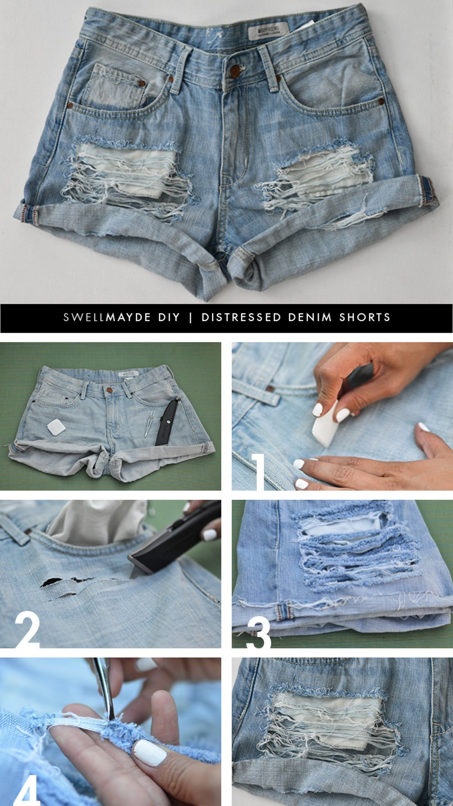 All Things Denim 19 Diy Inspirations For Denim Lovers Diy Ripped Jeans Diy Distressed Jeans Diy Shorts