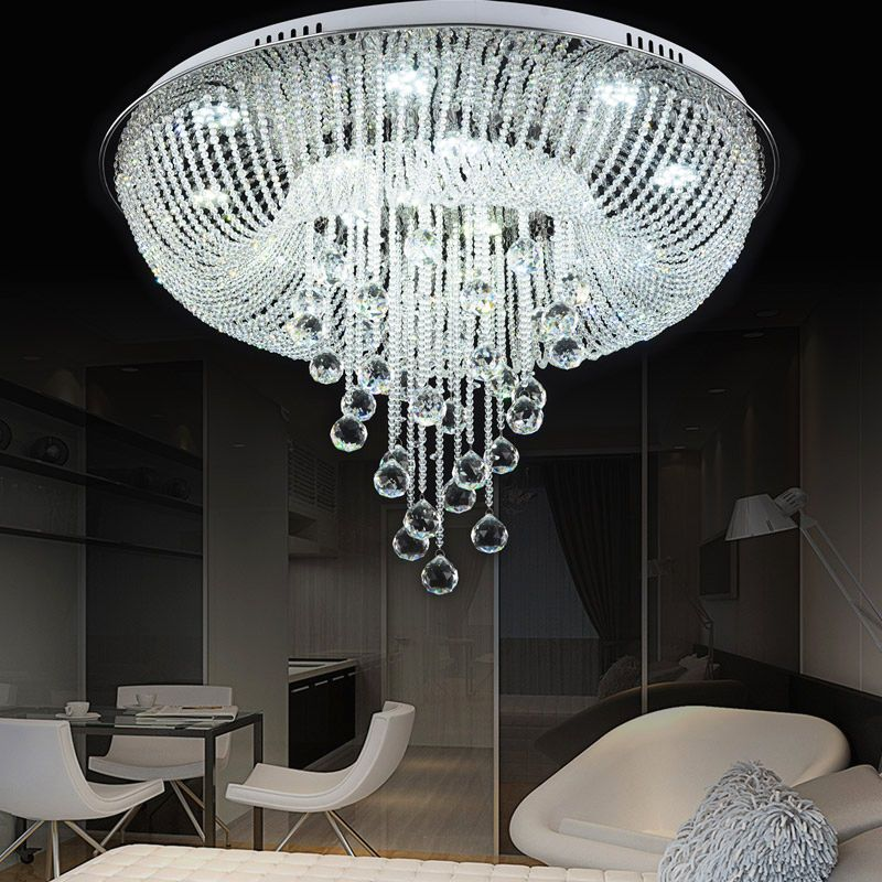 Clear Crystal Glass Draping Flush Mount Chandelier Ceiling Led Pendant Lighting Crystal