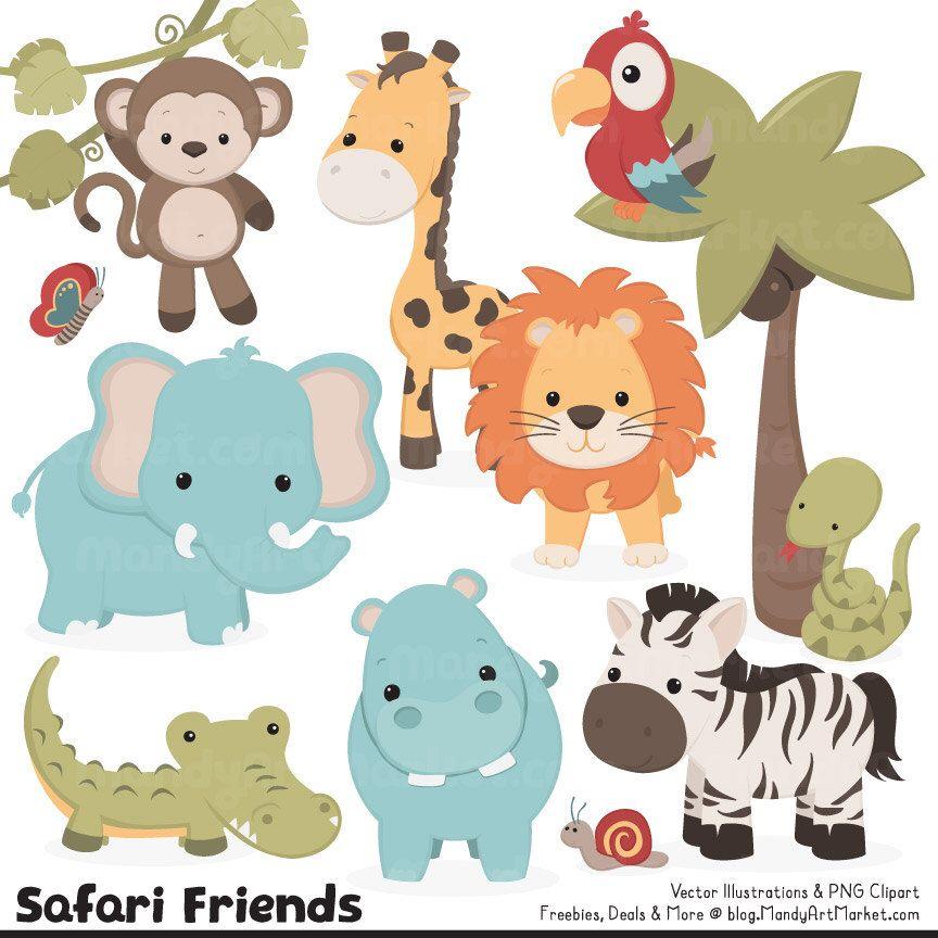 Cute Vintage Jungle Animal Clipart Cute Safari Clipart Etsy Safari Baby Animals Animal Clipart Safari Animals