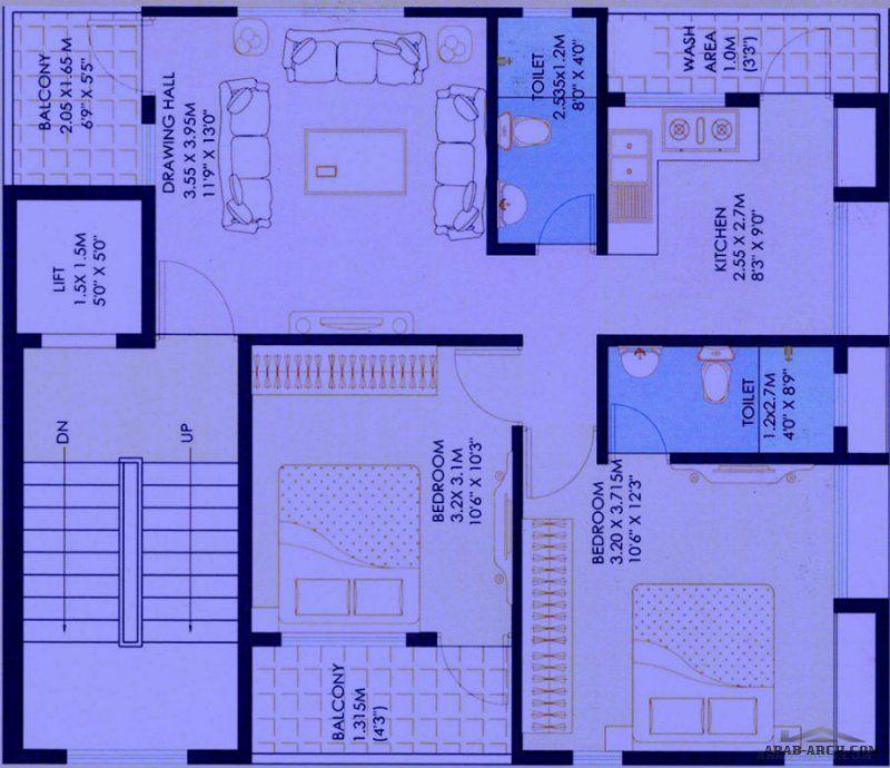 مخطط عمارة سكنية مودرن على شقة واحدة Small House Plans Bungalow Design House Plans