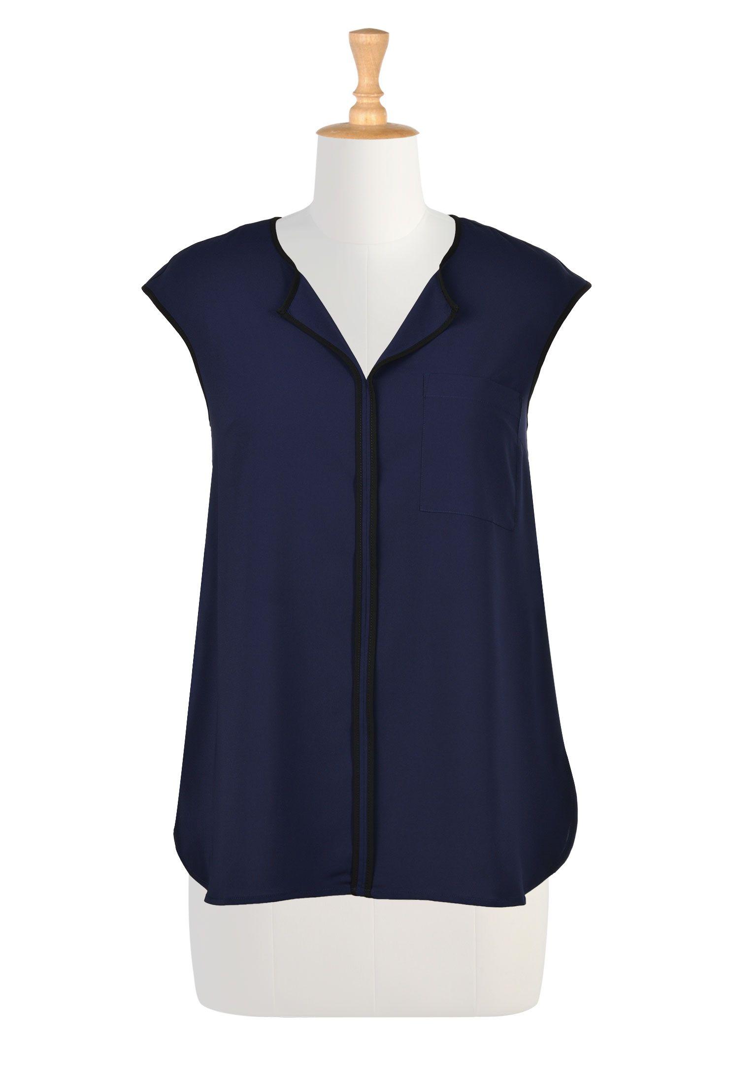 Notch Neck Contrast Trim Crepe Blouses, Polyester Crepe Cap Sleeve Tops Shop womens fashion clothing - Trendy Women's Tops - Shop for Fashion, Missy, Plus, Petite, Tall, 1X, 2X, 3X, 4X, 5X, 6X, Custom - CL0035096 | eShakti